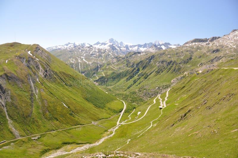 Furka passerande, Schweiz arkivbild