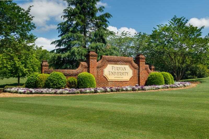 Furman University. Greenville, sc, usa - may 2: entrance sign at furman university on may 2, 2019 in greenville, south carolina academia architecture beauty stock images