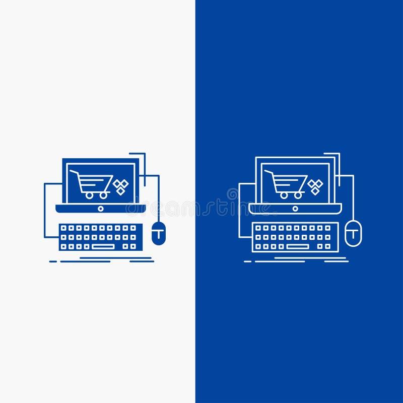 Furmani, robi zakupy, przechuje, online, gry linii i glifu sieci guzik w Błękitnego koloru Pionowo sztandarze dla, lub royalty ilustracja