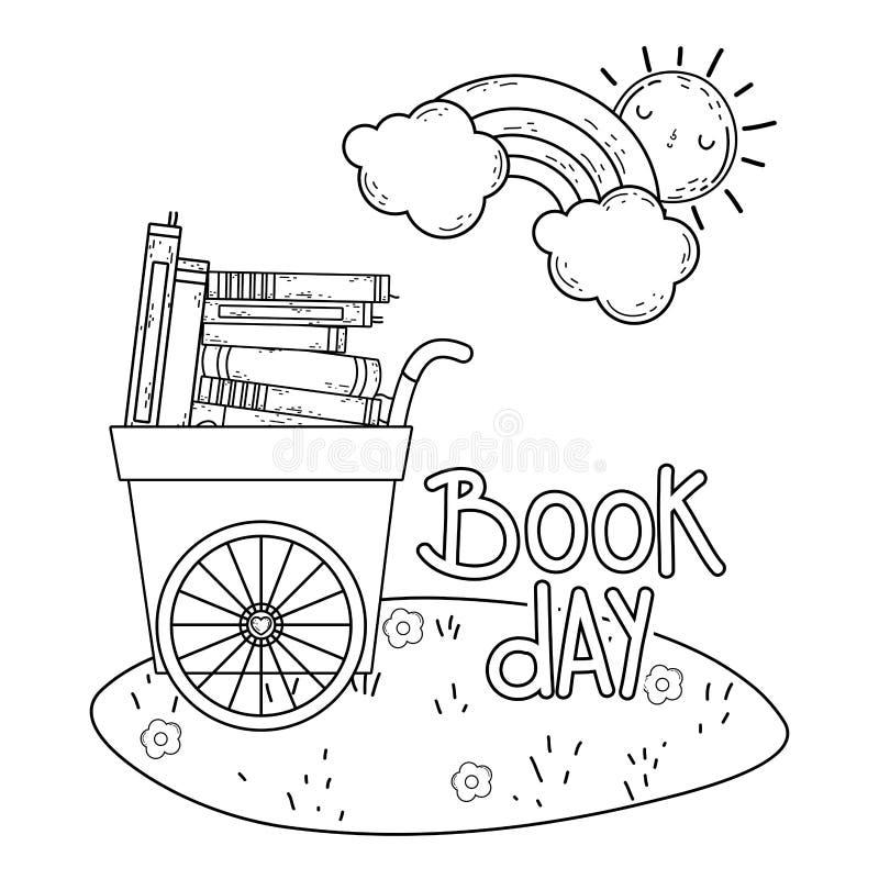 Furmani z palowymi tekst książkami w dzień sportu świętowaniu royalty ilustracja
