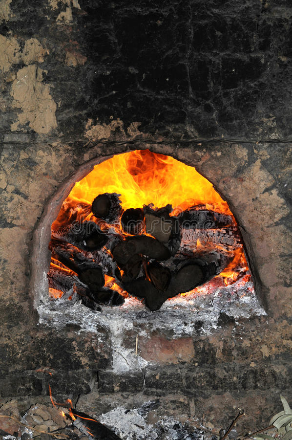 Download Furnace With Firewood Burning Stock Photo - Image: 11878786