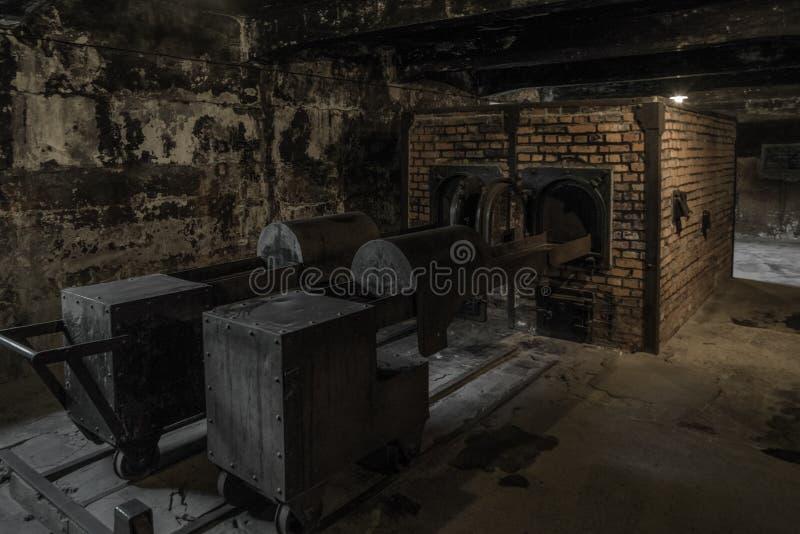 Furnaces in the crematorium at Auschwitz I, Poland. Furnaces in the crematorium in concentration camp Auschwitz I at Oswiecim - Poland stock photography
