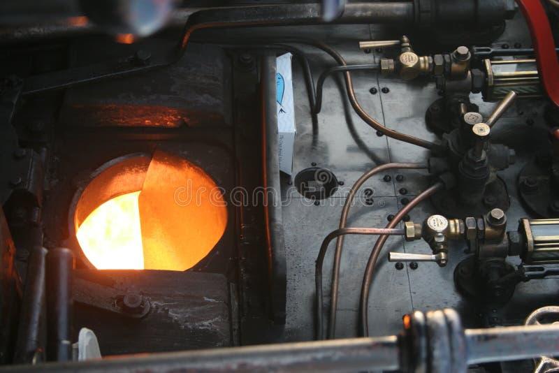 Furnance in stoomtrein stock fotografie