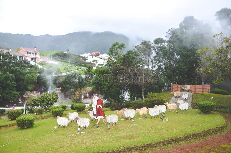 Furnas, Sao Miguel, Azorerna, Portugal - den 13 januari 2020: Vulkaniska varmfjädrar i portugisiska ugnar Geotermisk svavelkälla  royaltyfri bild
