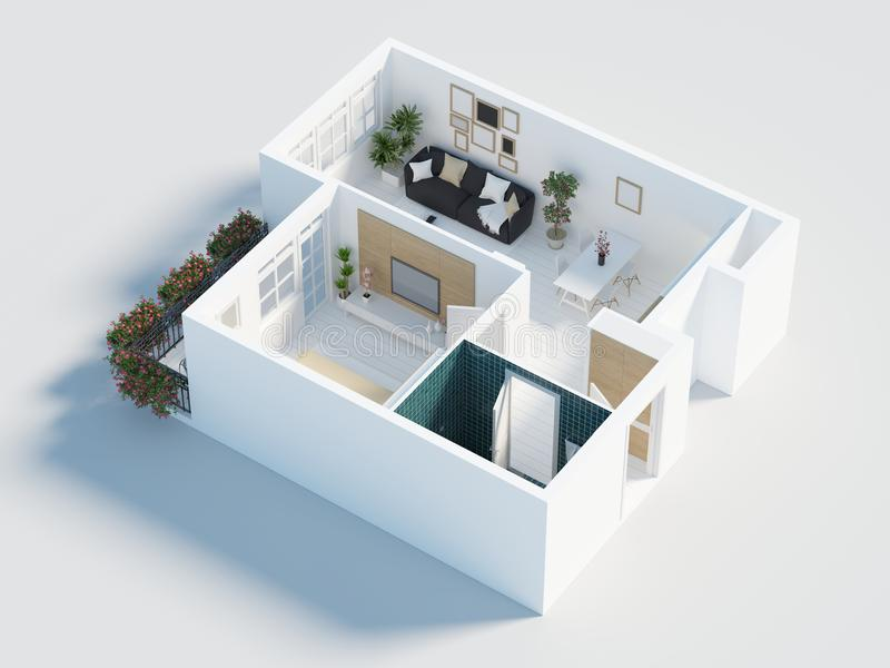 Awesome Download 3d Model Of Empty Home Apartment Stock Illustration   Illustration  Of House, View: