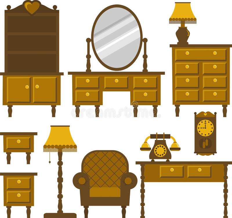 Furniture. Antique furniture for various interior royalty free illustration