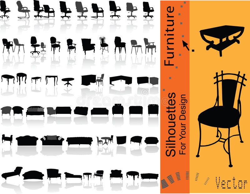 Furniture. Vector illustration. Silhouuettes for your design vector illustration