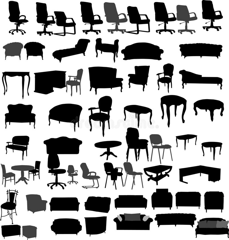 Furniture. Vector illustration. Silhouettes for your design
