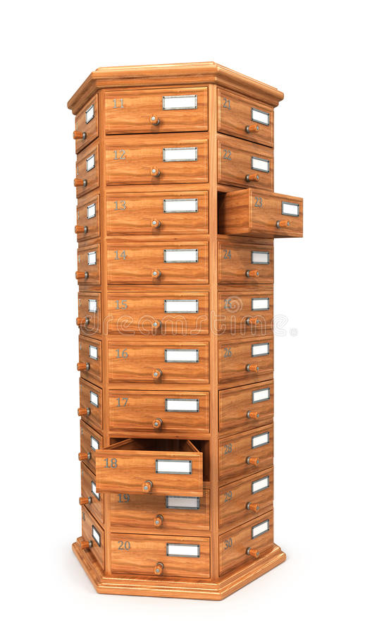 Furniture, archives. Bedside table, wooden boxes. Modern designer, chest of drawers, isolated on white background. 3d illustration vector illustration