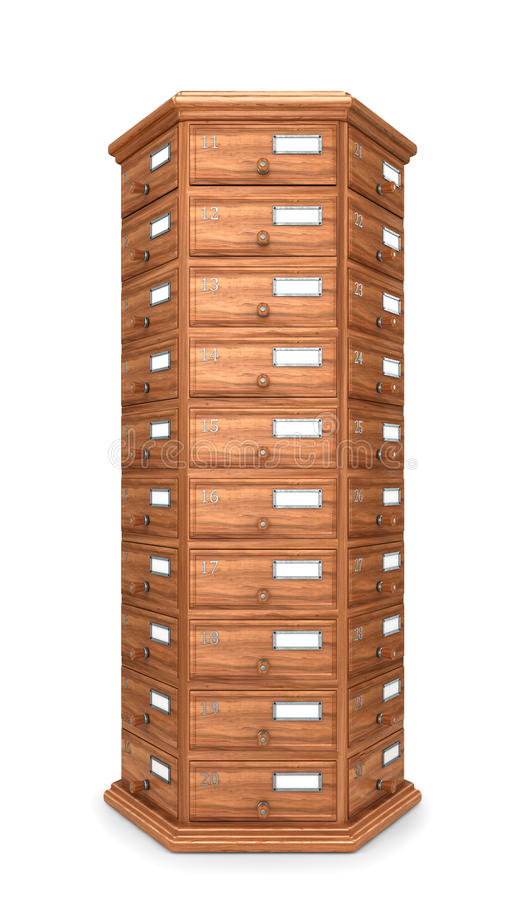 Furniture, archives. Bedside table, wooden boxes. Modern designer, chest of drawers, isolated on white background. 3d illustration royalty free illustration