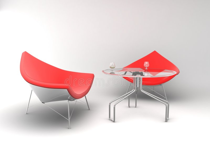 Furniture. Armchairs whit table stock image