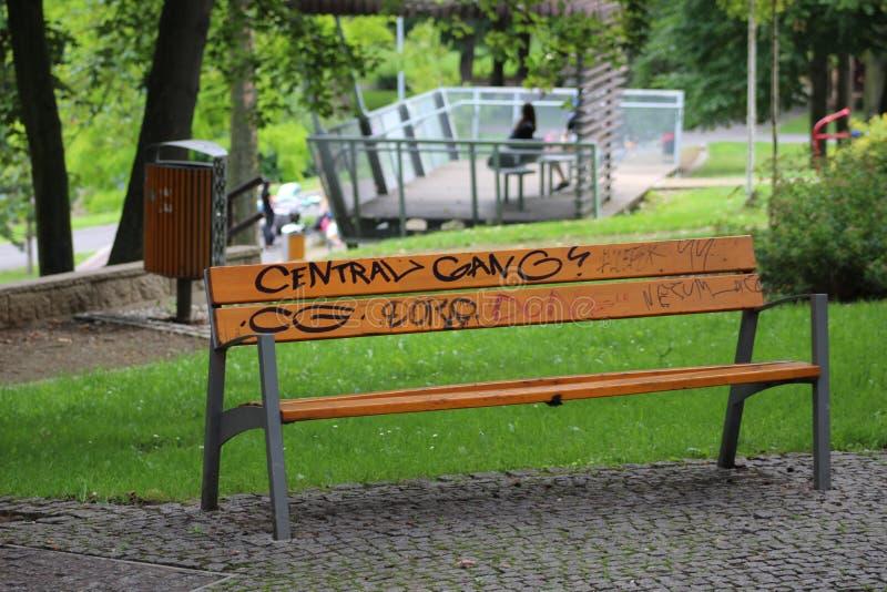 Furniture, Bench, Tree, Park stock image