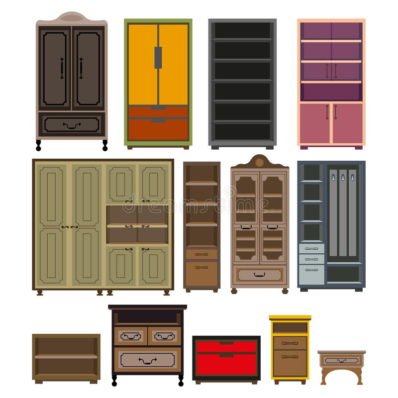 Furniture cabinet and wardrobe chests vector isolated flat icons set royalty free illustration