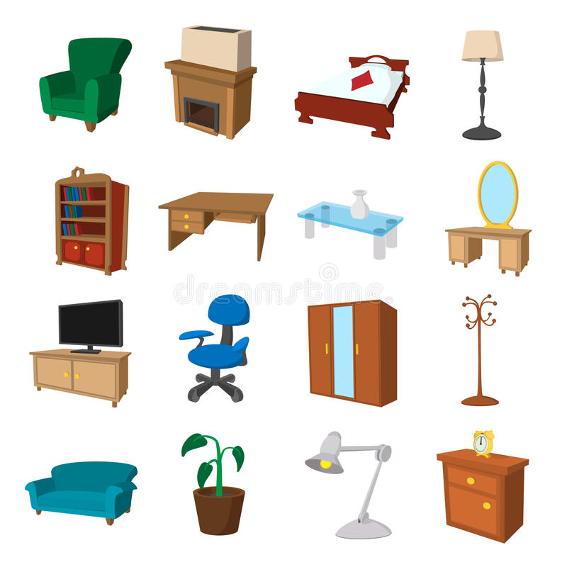 Bedroom Interior Design Set Furniture Vector ~ Furniture cartoon icons set stock vector image