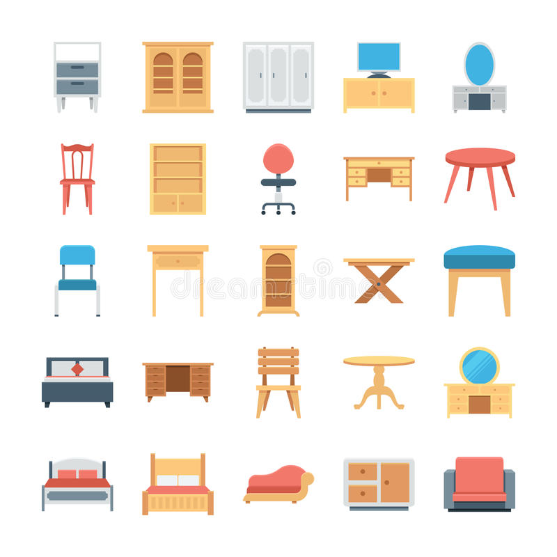 Furniture Colored Vector Icons 2 vector illustration