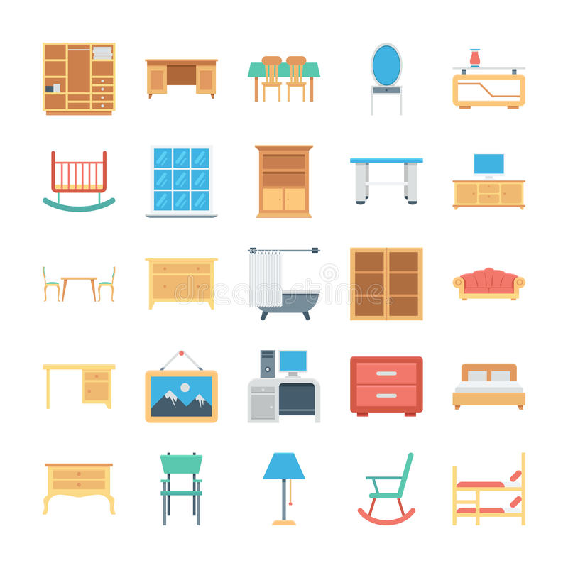Furniture Colored Vector Icons 3 stock illustration