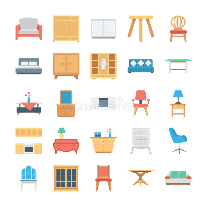 Furniture Colored Vector Icons 5 royalty free illustration