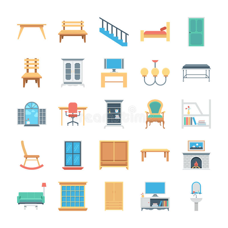 Furniture Colored Vector Icons 7 vector illustration