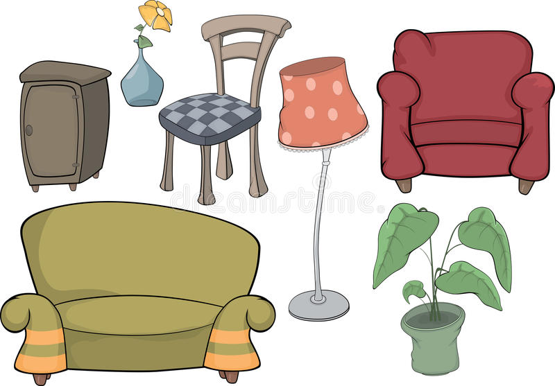 The furniture complete set. The complete set of objects of furniture for interiors of rooms vector illustration