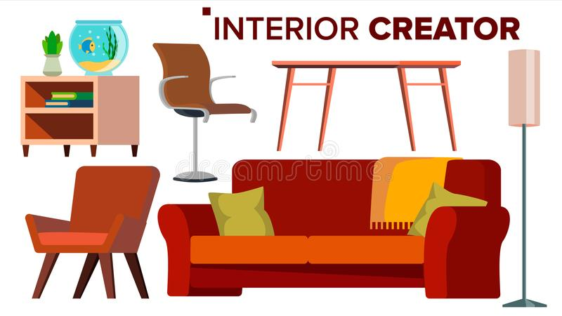 Furniture Creator Vector. Living Room. Modern Chair Objects. Sofa, Armchair, Lamp, Table, Bedside Table. Isolated Flat stock illustration