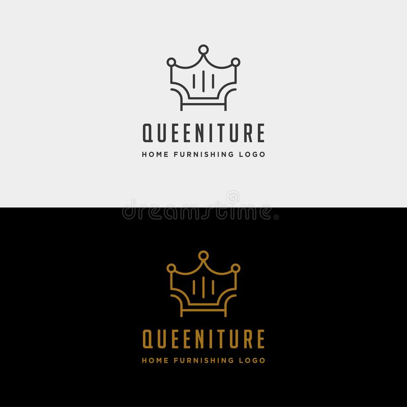 furniture crown logo design with gold color vector icon illustration icon isolated vector illustration