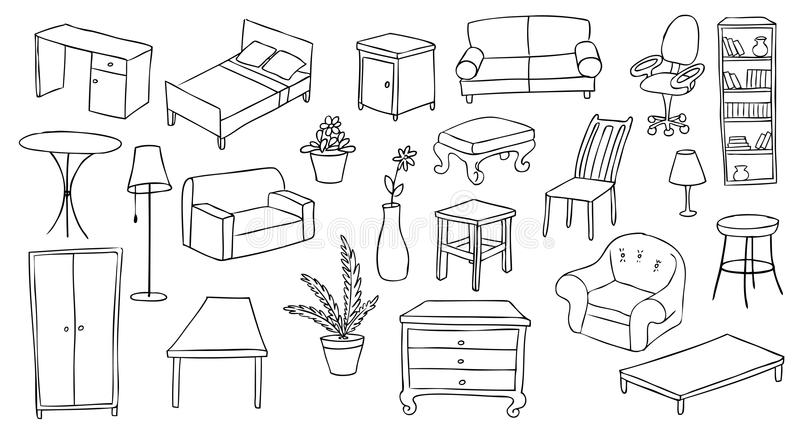 Download Furniture And Decoration Set Stock Vector - Illustration of chair, icon: 24603868