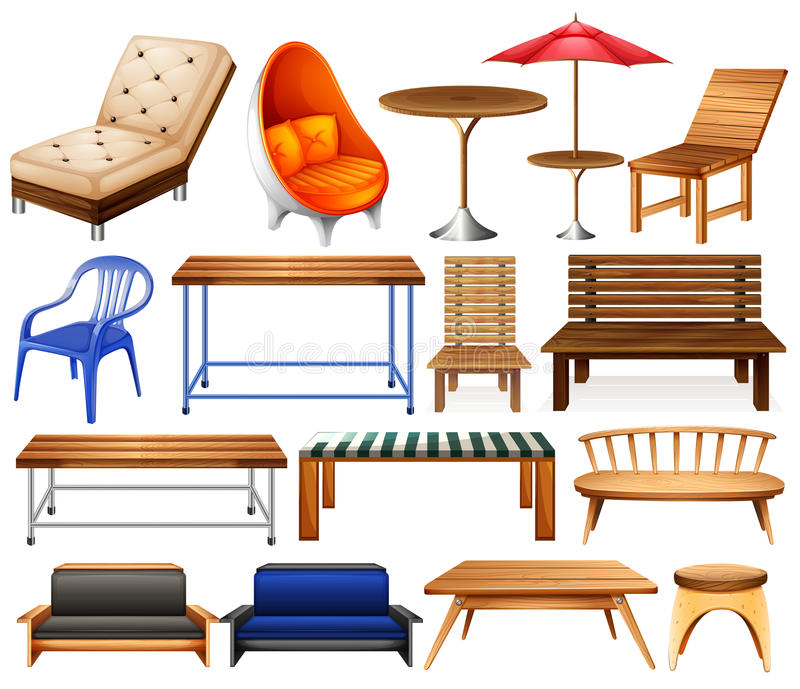 Furniture. Different kind of modern and classic furniture stock illustration