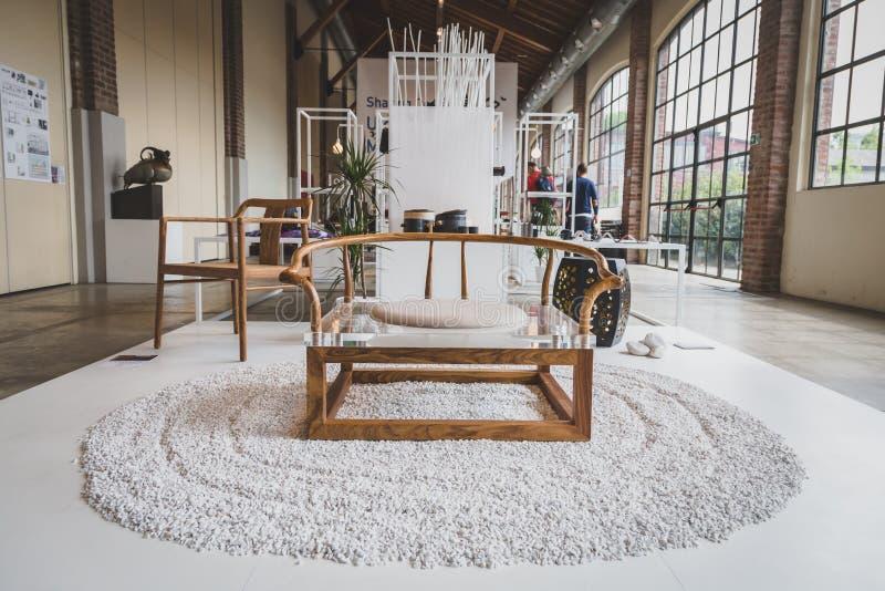 Furniture on dispaly at Fuorisalone during Milan Design Week 201 royalty free stock photography
