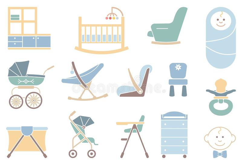 Furniture and equipment for boys vector illustration