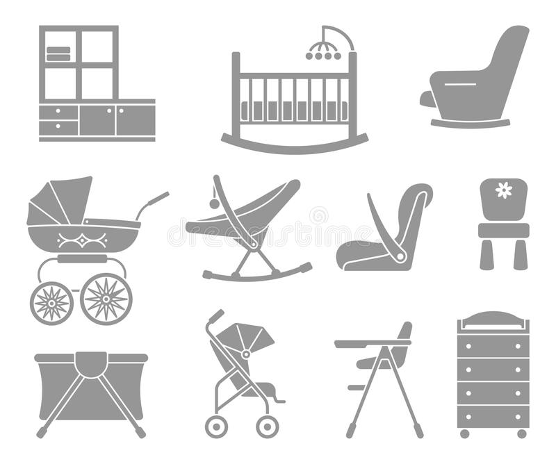 Furniture and equipment for kids stock illustration