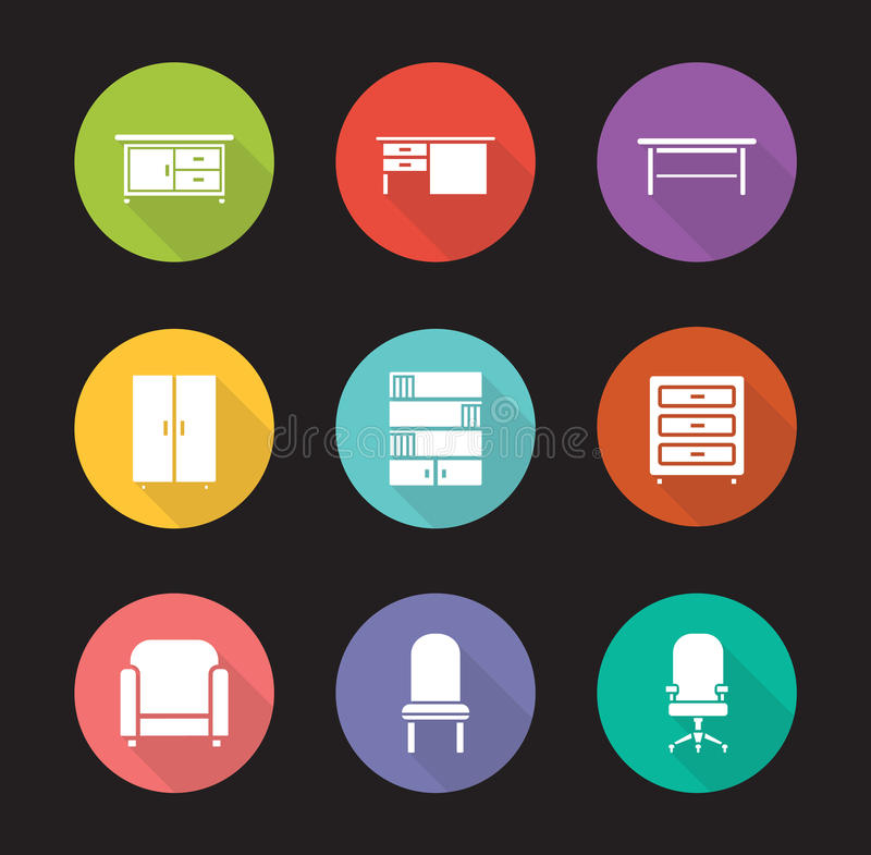 Furniture flat design icons set. Modern living room interior decoration elements. Office computer chair and desk long shadow symbols. Home bookcase and cabinet stock illustration