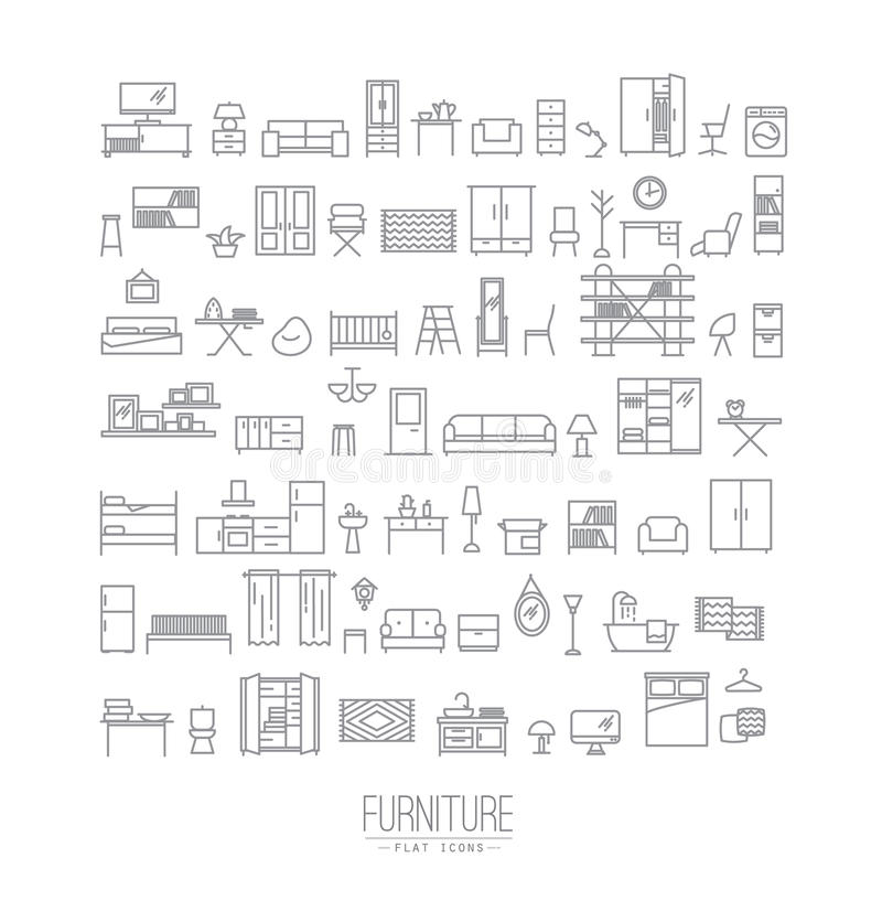Furniture flat icons grey. Furniture and home decor icon set in modern flat style drawing with grey lines on white background stock illustration