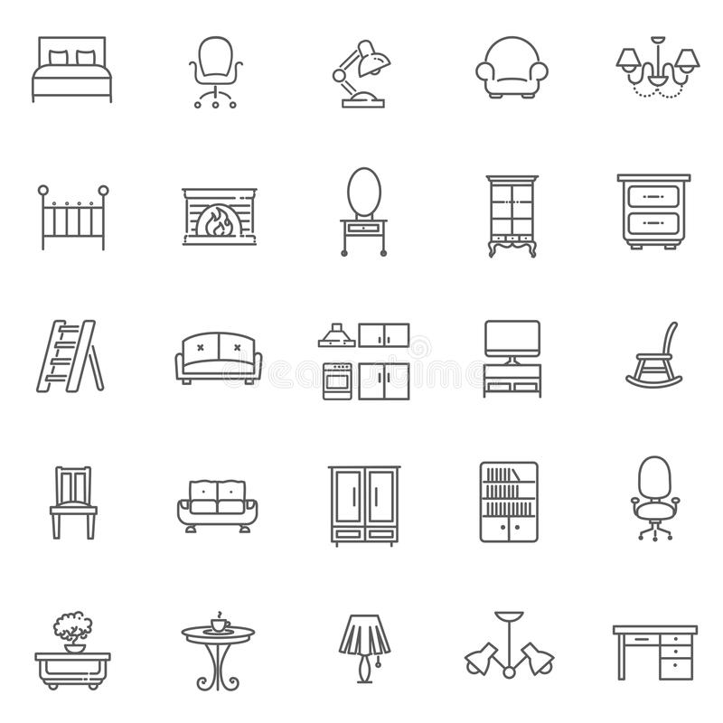 Download Furniture And Home Decor Icon Set Stock Vector   Illustration Of  Vector, Lamp: