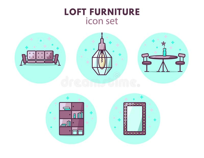Furniture and home decor icon set. Loft vintage style. 5 icons: couch, pendant lamp, mirror, wardrobe and tab stock illustration