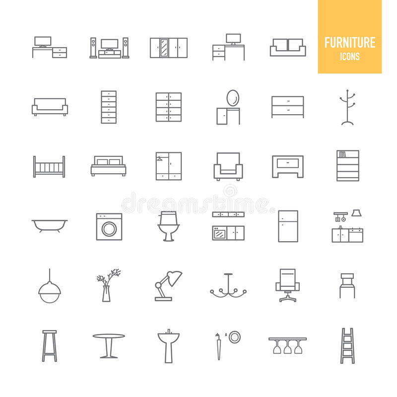 Furniture and home decor icons set stock vector image Home decoration vector free