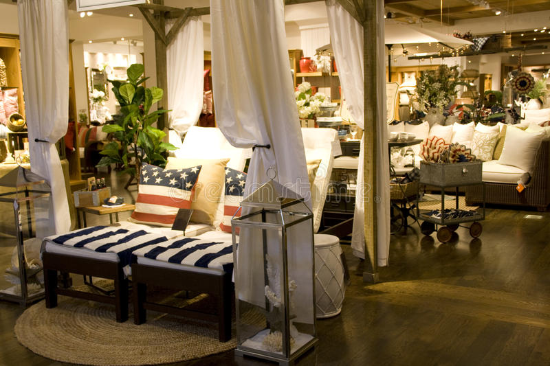 Furniture and home decor store stock images