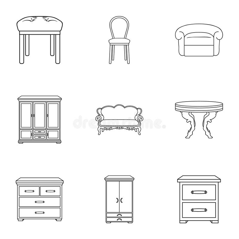 Furniture and home interior set icons in outline style. Big collection of furniture and home interior vector symbol stock illustration
