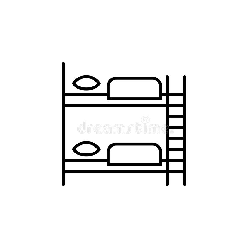Furniture for hostel bunk bed linear icon royalty free illustration