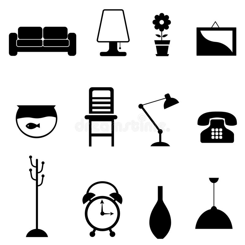 Download Furniture icon stock vector. Image of design, desk, black - 17238065
