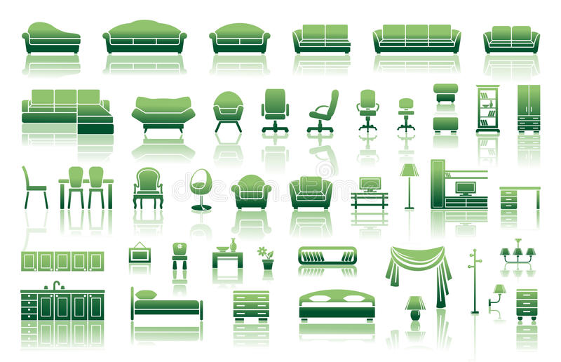 Download Furniture icon set stock vector. Image of chair, image - 28584145
