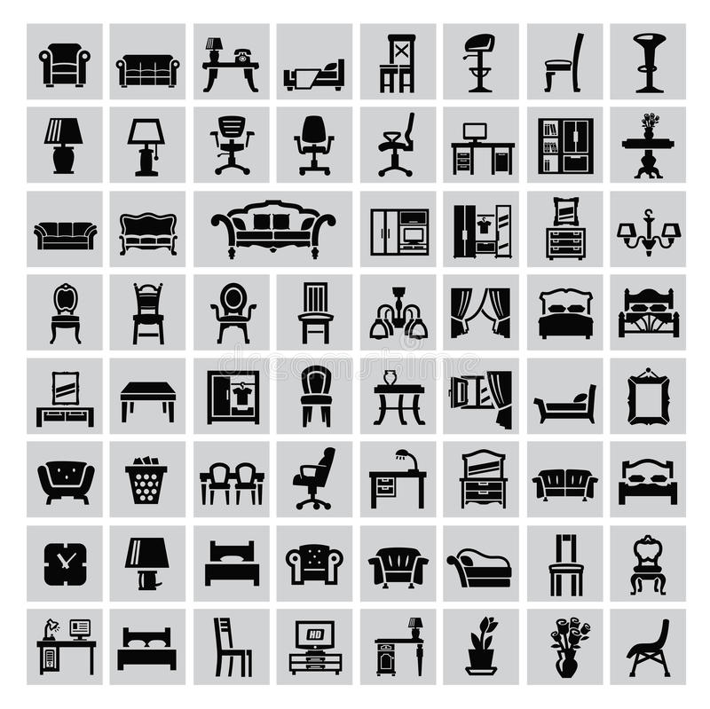 Furniture icon. Vector black house furniture icon set on gray vector illustration