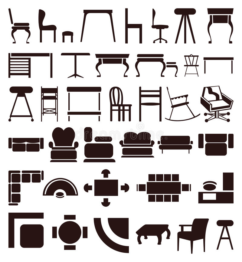Furniture icons stock illustration