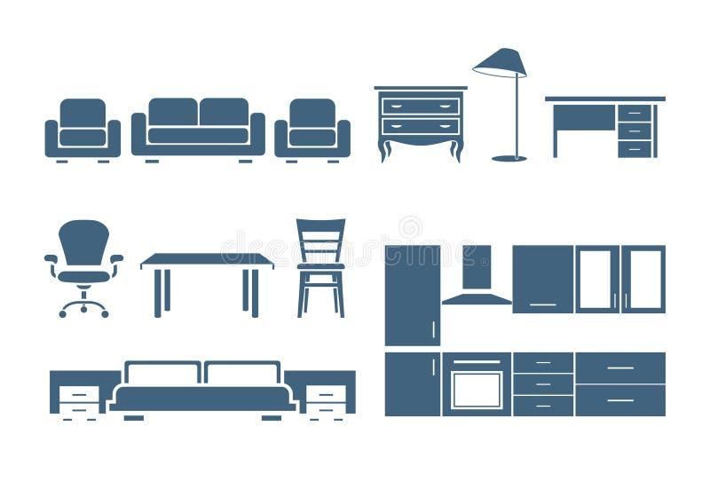 Furniture icons. Illustration set of furniture icons stock illustration