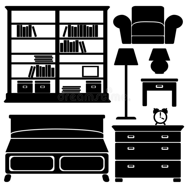 Furniture icons, bedroom set stock illustration