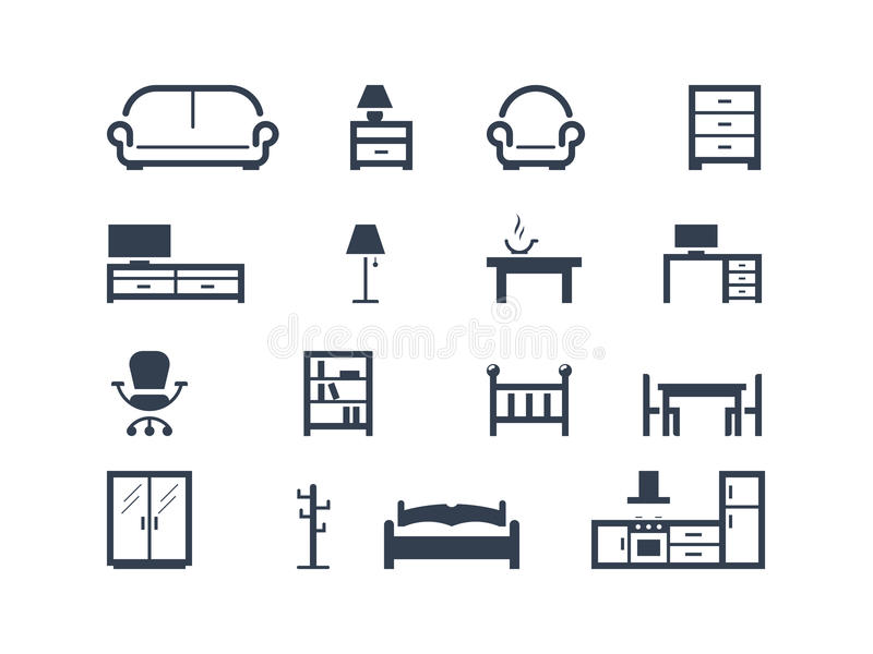 Furniture icons. Set of furniture icons isolated on white vector illustration