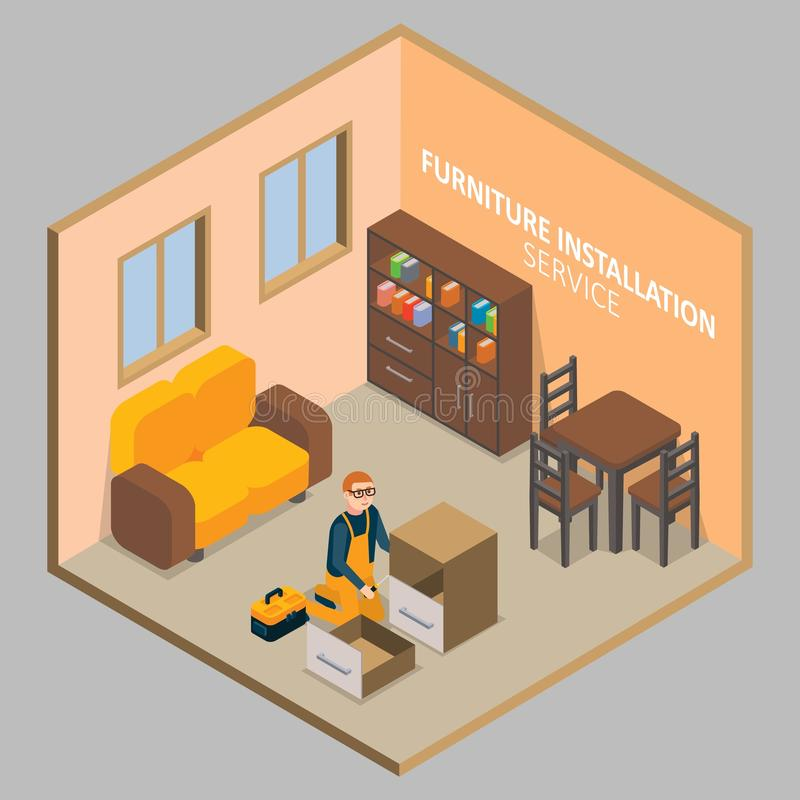 Furniture installation vector isometric concept. Furniture installation service concept. Vector isometric cutaway living room interior with worker carpenter royalty free illustration