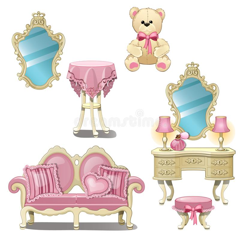 Furniture for interior girl room in pink color isolated on white background. Vector cartoon close-up illustration. stock illustration