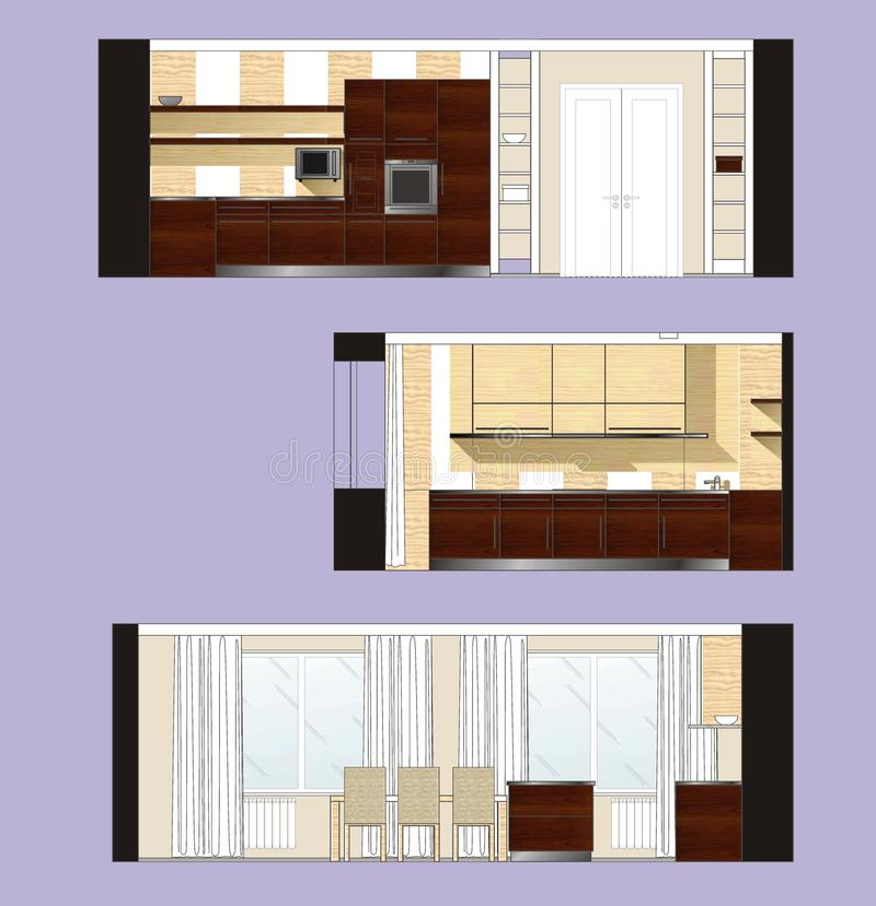 Kitchen Design Drawing With Color: Furniture Kitchen Scan Stock Illustration. Illustration Of Color