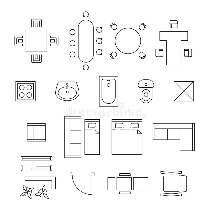 Furniture linear vector symbols floor plan icons stock for Table design view definition