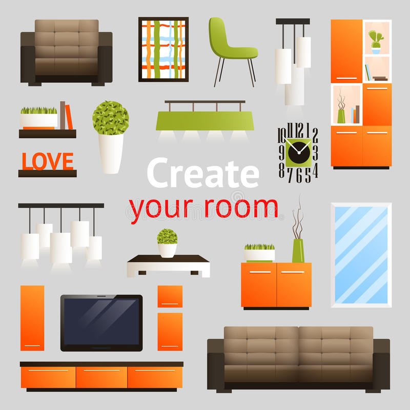 Furniture Objects Set Stock Vector Illustration Of Cozy